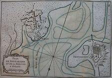 PLAN DE FONTARABIE ET DE LA REDOUTE D'ANDAYE (HENDAYE) . Bellin, carte originale