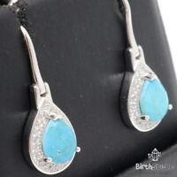 Genuine Pear Blue Turquoise Earrings Women Birthday Jewelry 925 Sterling Silver