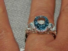 SKY BLUE TOPAZ LARGE RING- SIZE R-6.500CTS-STERLING SILVER 925