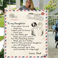 Letter Postcard to my daughter 3D Custom Fleece  Blanket Gift from love dad