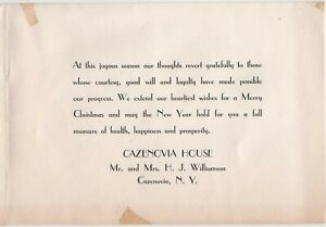 Cazenovia House NY HJ Williamson 1942 1943 Vintage Christmas Card Inn Tavern
