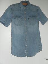 Chemise H&M manches courtes , coton bleu jean clair ,hommeT:XS