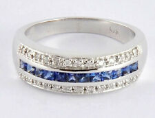R167 Genuine 9K, 10K, 18K Gold Natural Blue Sapphire & Diamond Eternity Ring
