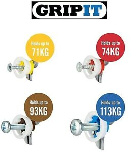 GRIPIT Plasterboard Hollow Wall Fixing - Yellow, Red, Brown & Blue, 2, 4, 8, 10