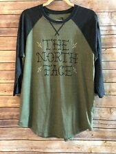 North Face Men's Large T-Shirt Olive Green Baseball Shirt Soft Script Spell Out