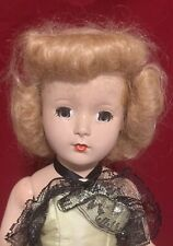 14� Usa Vintage 50s Hard Plastic Doll Strawberry Blonde Hair Yellow & Black Gown