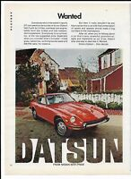 Vintage 1972 Red Nissan DATSUN 240-Z Ad - Wanted