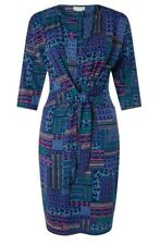 Monsoon Priya Navy Patchwork Print Jersey Stretch Knee Length Dress Size 18 Bnwt