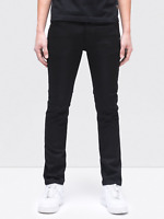 Nudie Herren Slim Fit Raw Denim Stretch Jeans Hose | Thin Finn Org. Black Ring