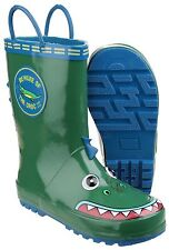 Cotswold Puddle Boot Boy's Crocodile Face Pull on Rubber Wellington BOOTS UK 8 Infant (eu Size 26)