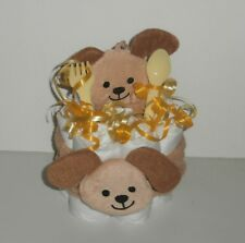 Diaper Cake Mini Brown Dog Head Wrap and Cloth Set with fork & spoon