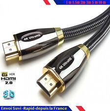 Cable hdmi 2.0 4K 60Hz ultra/full/HD 2160P 1/1,5/2/3/5/10/15/20/30 m 3D optique