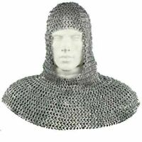 Flat Riveted w/ Flat Washer Chainmail Coif Chain Mail Hood Medieval Reenactment