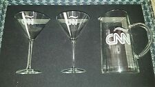 CNN ENGRAVED GLASS MARTINI SET includes 2 GLASSES and 1 PITCHER-Each engraved