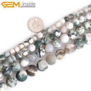 Natural Green Tree Agate Stone Semi Precious Forested Matt Round Chakras Beads