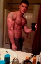 Shirtless Muscular Body Builder Hunk Tattoos Towel Bathroom Shot PHOTO 4X6 F243