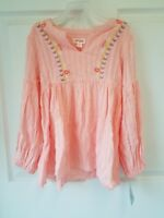Girls Embroidered Long Sleeve Top - Cat & Jack - Light Coral Pink - M