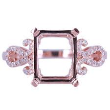 10x8mm Emerald14K Rose Gold Natural Diamond Setting Wedding Semi Mount Fine Ring