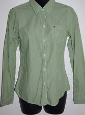 American Eagle Outfitters Size 6 Womens Long Sleeve Green Striped Casual Shirt