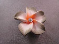 Hawaii Plumeria Flower Polymer Clay w/ Rhinestone 35mm Orange/Olive Pendant 1pc