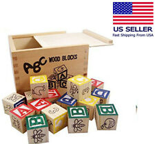 Educational Wooden Alphabet & Numbers Blocks, Pre-Kindergarten Toy for Toddlers