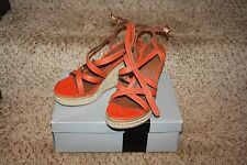 Mossimo Orange Peep Toe Strappy Ankle Strap Wedge Heels Rope Size 10