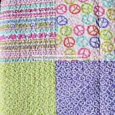 5PC PEACE LOVE HEARTS FULL QUEEN QUILT PINK PURPLE GREEN SHEETS PEACE SIGN