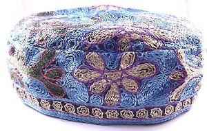 Light Blue Bucharian Buchari Yarmulke Kippah Jewish Kippa Hat Judaica Cap Big