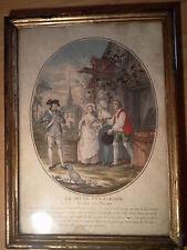 ancienne gravure peinte la jeune villageoise rendue a ses parents XVIII ème