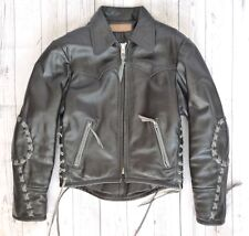 SUPERB Vintage Thick HEAVY LEATHER Motorcycle JACKET BIKER Langlitz type TwoTone