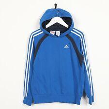 Vintage Damen Adidas Kleines Logo Kapuzenpullover Blau KLEIN S