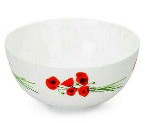 LUMINARC Diwali Hypnosis White Serving Mixing Bowl for Salads,Snacks, Red Poppy