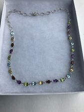 "925 Stamped 18"" TENNIS NECKLACE GARNET CITRINE AMETHYST PERIDOT TOPAZ"