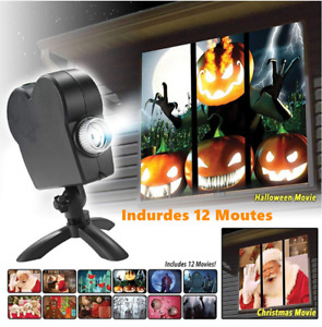 Window Projector 12 Movies Halloween Party Christmas Santa Claus Projection Lamp
