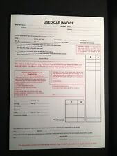 USED CAR INVOICE RECIEPT PADS FOR SELLING CARS WITHOUT WARRANTY OR GUARANTEE