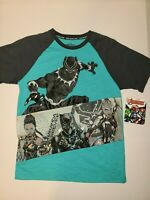 Boys Marvel Black Panther Wakanda Forever Graphic T-Shirt Blue NEW NWT