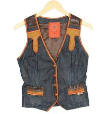 WE ARE REPLAY Jeans Denim Leather Trim Vest Jacket Waistcoat Women Size M