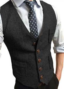 S-3XL Herringbone Vest Cowboy Waistcoat Tweed Mens Retro Vintage Slim Tailored++