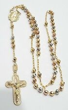 14K Yellow White Rose Gold Crucifix Rosary Tri Virgin Mary Guadalupe Cross