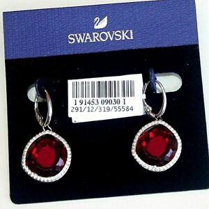 SWAROVSKI Earrings Rhodium Plated Red Breeze Pierced Red lever back new