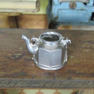 Vtg Antique Dollhouse Gerlach Style SILVER TONE TEA KETTLE Tea Set GERMAN PEWTER