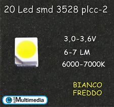 20 Led smd 3528  PLCC2 Bianco Freddo ad Alta Luminosità 6000-7000K 6-7 Lumen