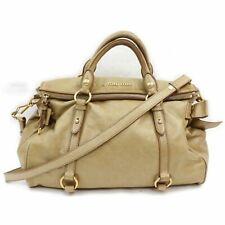 Miu Miu Hand Bag Side Ribbon Folded Flap  Leather 1710206