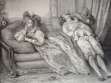LITHO CARICATURE FEMME HOMME RETOUR BAL DANSE DANCE MODE FASHION ROMANTISME 1840