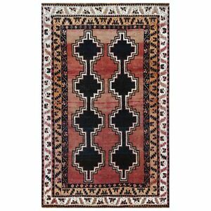"""4'5""""x7'2"""" Bohemian Semi Antique Coral Farsian Qashqairaz Hand Knotted Rug R57934"""