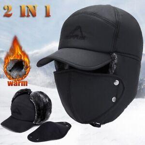 Mens Winter Russian Aviator Hat Trooper Ear Flap Snow Ski Windproof Ushanka Cap