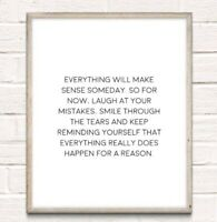 Happens For Reason Inspiration Typography Print Poster Motivation Unframed Quote