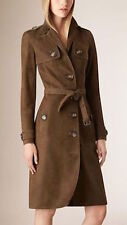 NWT BURBERRY $2995 WOMENS SUEDE LEATHER TRENCH COAT US 4 EU 38