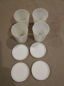 4 Salton Yogurt Maker Cups And Lids Heavy Glass Free Shipping!