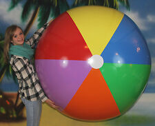 "72"" Inflatable 7 Color Beach Ball - Heavy Duty Glossy Vinyl - Giant Fun Pool Toy"